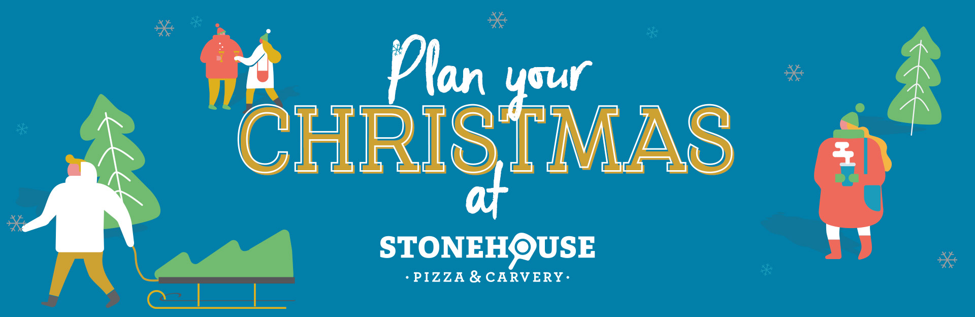 Let's celebrate, it's Christmas at Stonehouse Pizza & Carvery